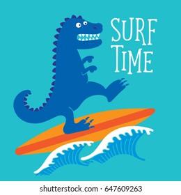 Surf sport and dinosaur typography, tee shirt graphics, vectors