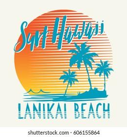 Surf sport Hawaii typography, tee shirt graphics, vectors
