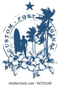 surf stamp with grunge summer background