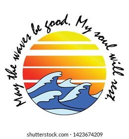 Surf theme text with waves and and sun vector illustrations. For t-shirt prints and other uses.