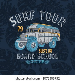 Surf tour school bus Print and leaves seamless pattern background