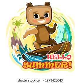 Surf tube. Fun cute teddy bear goes in for sports on the water. Summer vacation in tropic ocean. Adventure and travel on wave. Cartoon style. Isolated on white background. Vector