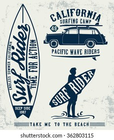 Surf typography set , t-shirt graphics, vectors