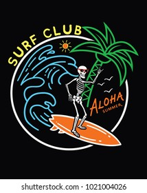 Surf typography for t-shirt print , vector illustration
