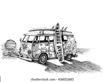 Surf van on the beach. Hand drawn vector