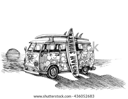 Surf Van On Beach Hand Drawn Stock Vector (Royalty Free) 436052683 ...