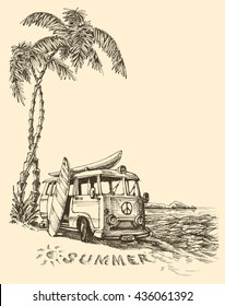 Surf van on the beach vector sketch