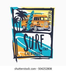 Surf van typography, t-shirt graphics, vectors