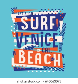 Surf Venice beach typography, tee shirt graphics, vectors