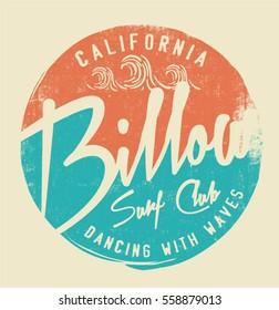surf.  Vintage california surf typography print. t-shirt graphic design.