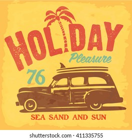 Surf. vintage surf car t-shirt printing. holiday typography graphic