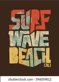 surf. vintage surf print. tee graphic design