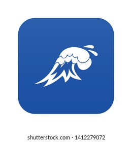 Surf wave icon digital blue for any design isolated on white vector illustration