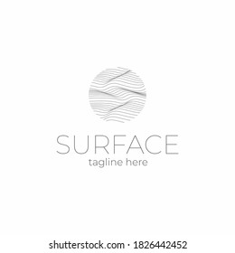 Surface logo template. Lined field abstract logo template.  Abstract stripes line wavy field pattern. Topography logo. Relief logo. Mesh surface. Geology layers. Topographic line map.