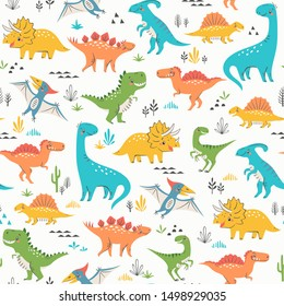Surface pattern of cute dinosaurs
