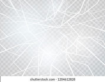 The surface texture is cracked on ice, isolated on a transparent background. Vector illustration. Broken glass.surface texture is cracked on ice.