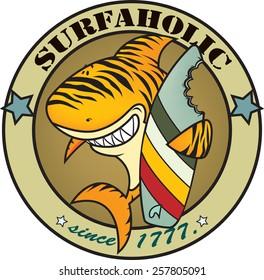 Surfaholic tiger shark. funny tiger shark surfer t-shirt design illustration