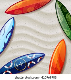 surfboard with color pattern on the beach. creative graphic poster for your design