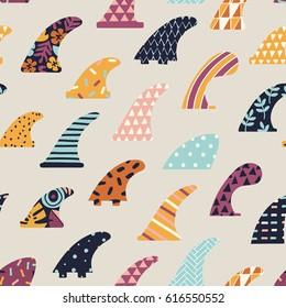 Surfboard fin seamless pattern