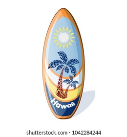 Surfboard with a national Hawaiian pattern from the palm trees and sun, and the inscription Hawaii. Holidays in the Hawaiian Islands. Vector illustration. Sports equipment in cartoon style.