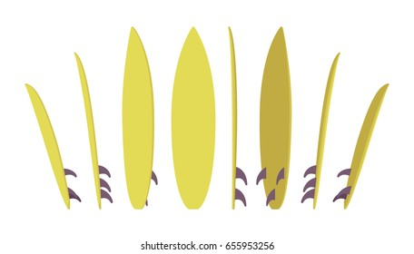 Surfboard set, surfing summer water sport, board for wave riders and athletes, standing in different positions, bright fresh color. Vector flat style cartoon illustration, isolated, white background