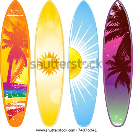 Surfboard Set Tropical Designs Stock Vector Royalty Free 74876941