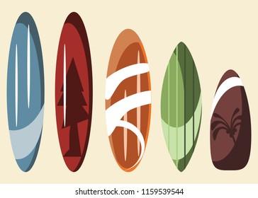 surfboard sets vector illustration