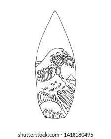 Surfboard vector poster with Big Wave of Kanagawa art printed on it. Japanese classic art by Hokusai