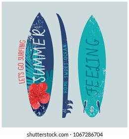 Surfboard vector print.Summer feeling t-shirt design.