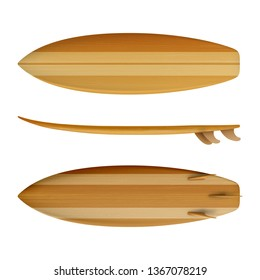 Surfboard Wood front back side view isolated on white background in vector format