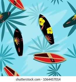 Surfboards beach seamless patterns.