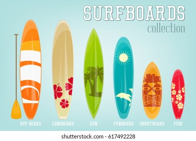Surfboards Collection with Different Designs and Sizes. Vector Illustration.