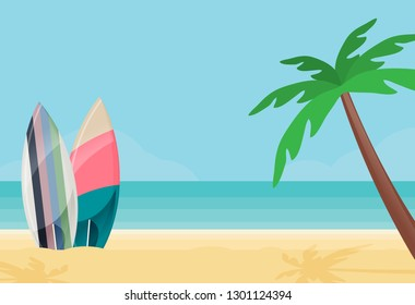 Surfboards on the Beach. Flat Design Style.