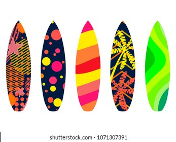 Surfboards on a white background. Types of surfboards with a pattern. Tropics, palm trees, summer motive. Vector illustration