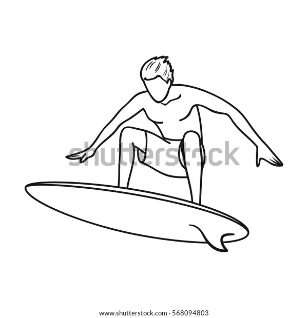 Surfer in action icon in outline style isolated on white background. Surfing symbol stock vector illustration.