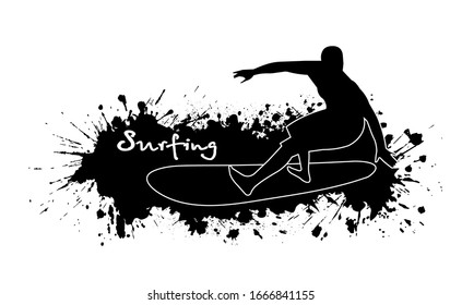 Surfer among splashes vector illustration in grunge style