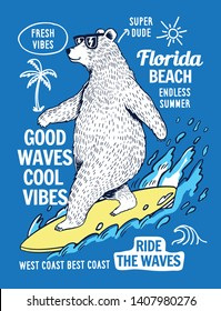 Surfer bear vector illustration, for t-shirt prints, posters and other uses.