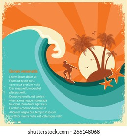 Surfer and big sea wave tropical island.Vector old poster background for text