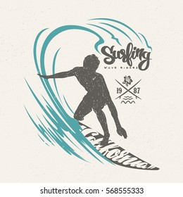 Surfer and big wave. T-shirt design.