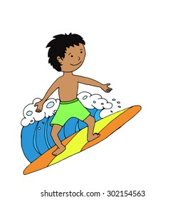 Surfer boy riding the wave. Vector illustration