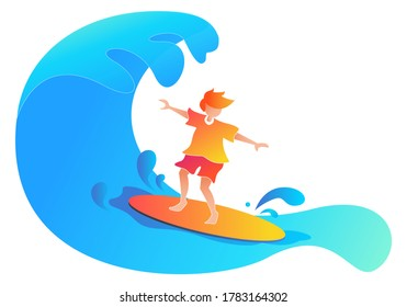 Surfer boy vector illustration of young man at surfboard on ocean wave, summer vacations sport activity, Surfing illustration vector on isolated with background for landing page, web page, poster.