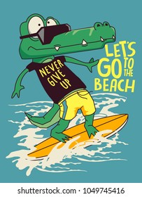 surfer crocodile vector design