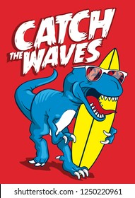 Surfer dinosaour with surfboard vector design for t shirt