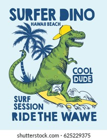 Surfer dinosaur character vector illustration for t shirt and other uses