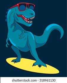 surfer, dinosaur, monster vector design for tee