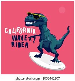 Surfer dinosaur vector design.Funny t-shirt print for kids.