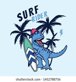 Surfer dinosaur.Dinosaur,surfboard,palm vector print. Fun t-shirt design for kids.Cute Dinosaur character design.