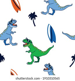 Surfer dinosaurs seamless pattern. Dinosaur,surfboard vector print. Fun t-shirt design for kids.Cute Dinosaur character design.