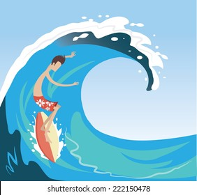 Surfer enjoying on the big wave in the ocean in summer