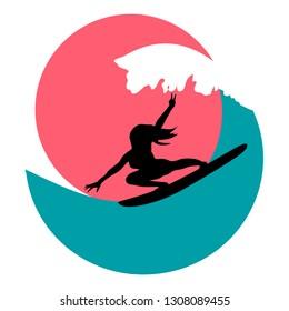 Surfer girl on wave minimal logo vector